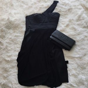 Satin and jersey one shoulder black dress XXS